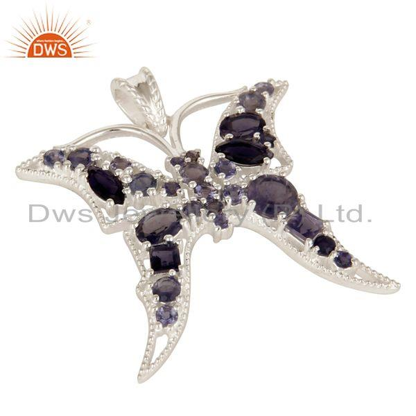 Exporter 925 Sterling Silver Iolite Gemstone Butterfly Designer Cluster Pendant Jewelry