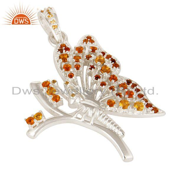 Exporter Natural Citrine Gemstone Sterling Silver Designer Butterfly Pendant Jewelry