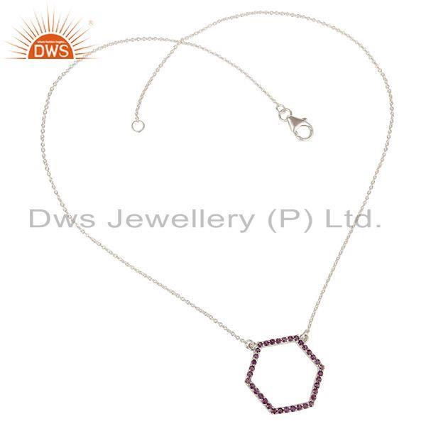 Exporter 925 Sterling Silver Amethyst Gemstone Open Hexagon Pendant Chain Necklace