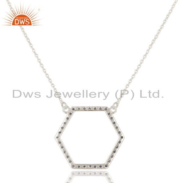 Exporter 925 Sterling Silver Iolite Gemstone Open Hexagon Pendant Chain Necklace