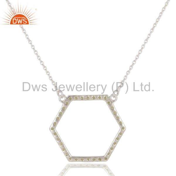 Exporter 925 Sterling Silver Peridot Gemstone Open Hexagon Pendant With Chain Necklace