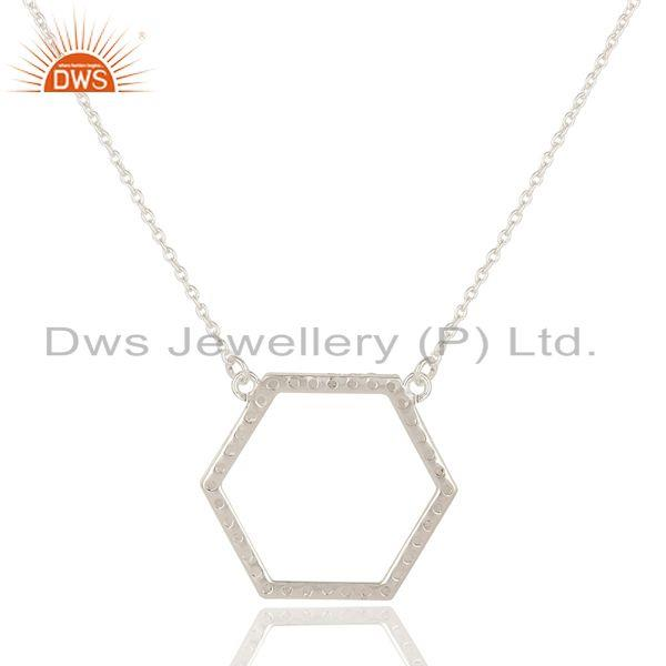 Exporter 925 Sterling Silver White Topaz Gemstone Open Hexagon Pendant Chain Necklace