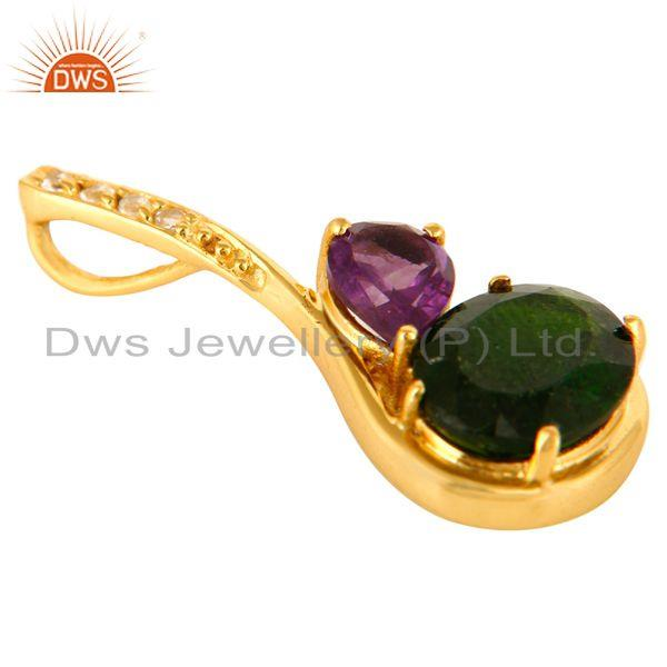 Exporter 18K Gold Plated Sterling Silver Natural Amethyst And Chrome Dispose Pendant