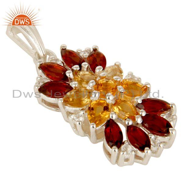 Exporter 925 Sterling Silver Citrine, Garnet And White Topaz Cluster Pendant Jewelry