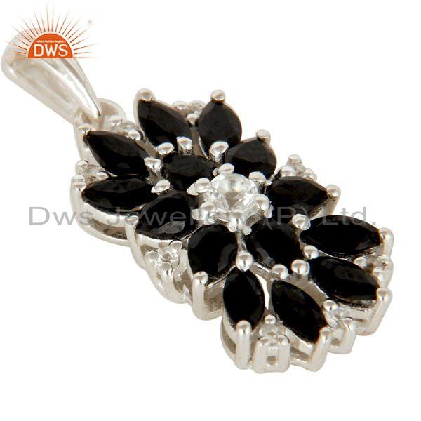 Exporter 925 Sterling Silver Natural Black Onyx And White Topaz Gemstone Cluster Pendant