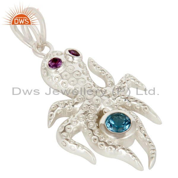 Exporter 925 Sterling Silver Octopus Pendant Amethyst and Blue Topaz Gemstone Jewelry