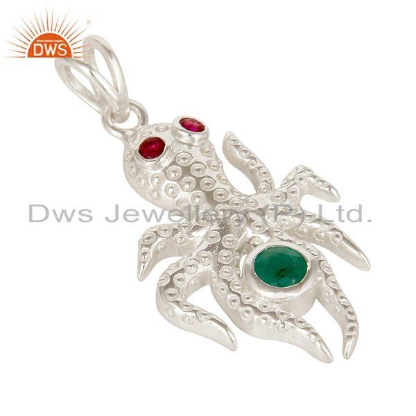 Exporter Emerald And Ruby Gemstone Sterling Silver Octopus Pendant With Chain