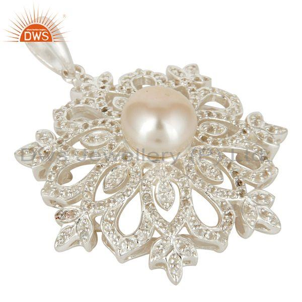 Exporter Pearl and White Topaz Sterling Silver Designer Flower Pendant Fine Jewelry