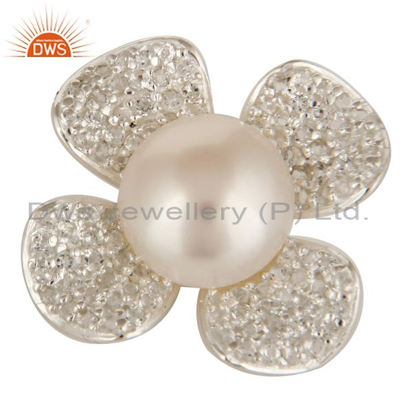 Exporter 925 Sterling Silver Natural Pearl And White Topaz Designer Flower Pendant