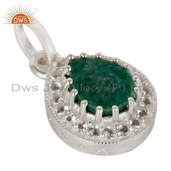 Exporter 925 Sterling Silver Emerald And White Topaz Gemstone Drop Pendant