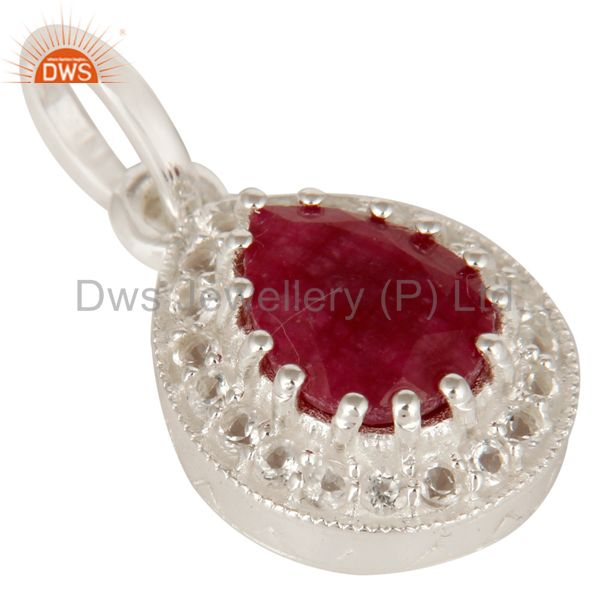 Exporter 925 Sterling Silver Red Corundum And White Topaz Gemstone Drop Pendant