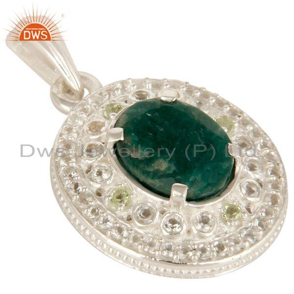 Exporter Green Corundum, Peridot And White Topaz Solid Sterling Silver Pendant