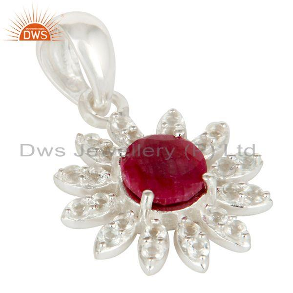 Exporter 925 Sterling Silver Ruby Red Corundum And White Topaz Designer Pendant
