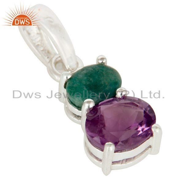 Exporter 925 Sterling Silver Purple Amethyst And Green Emerald Gemstone Pendant