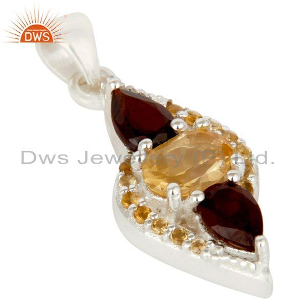 Exporter Citrine and Garnet Sterling Silver Fine Gemstone Pendant Jewelry