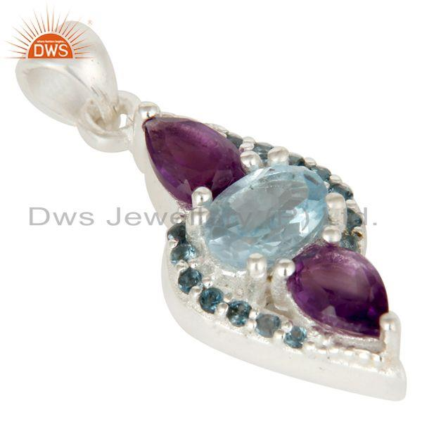 Exporter Natural Amethyst And Blue Topaz Sterling Silver Fine Gemstone Pendant Jewelry