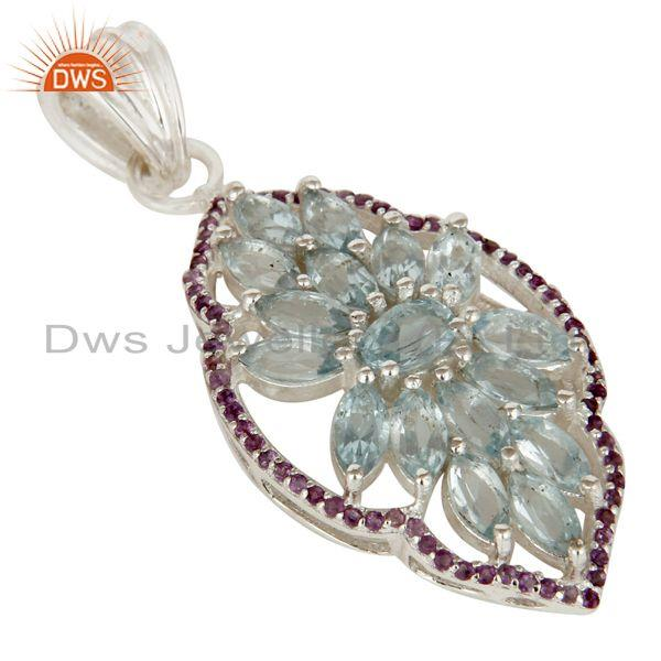 Exporter Blue Topaz and Amethyst Sterling Silver Gemstone Pendant Necklace Jewelry