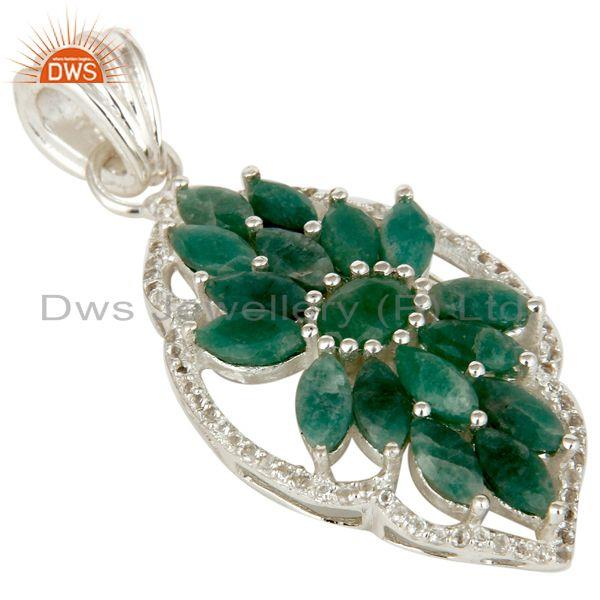 Exporter Natural Emerald and White Topaz 925 Silver Gemstone Pendant Necklace Jewelry
