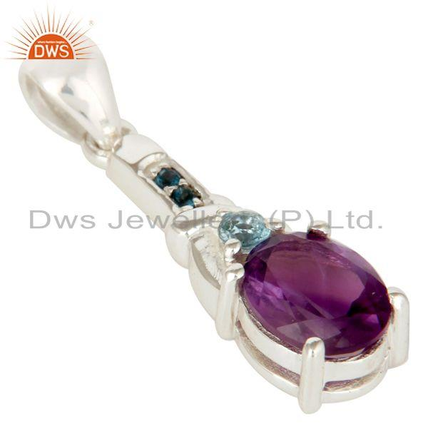 Exporter Genuine Amethyst and Blue Topaz Sterling Silver Pendant