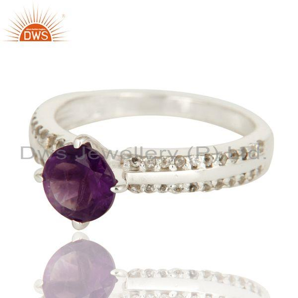 Exporter Natural Amethyst And White Topaz Halo Ring In Solid 925 Sterling Silver