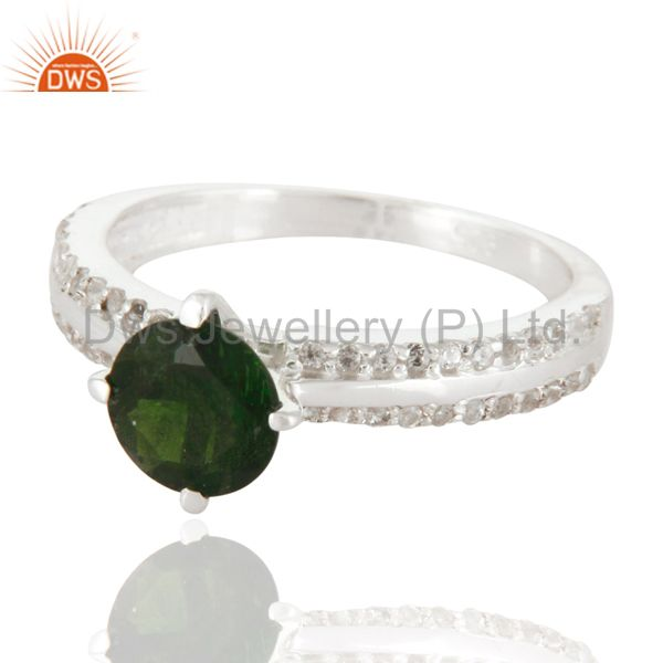 Exporter Sterling Silver Chrome Diopside & White Topaz Halo Engagement Ring Fine Jewelry