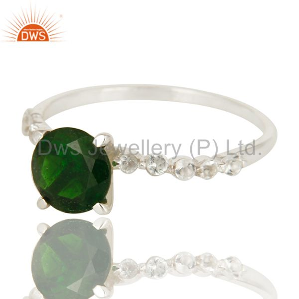 Exporter Natural Chrome Diopside And White Topaz Sterling Silver Solitaire Ring