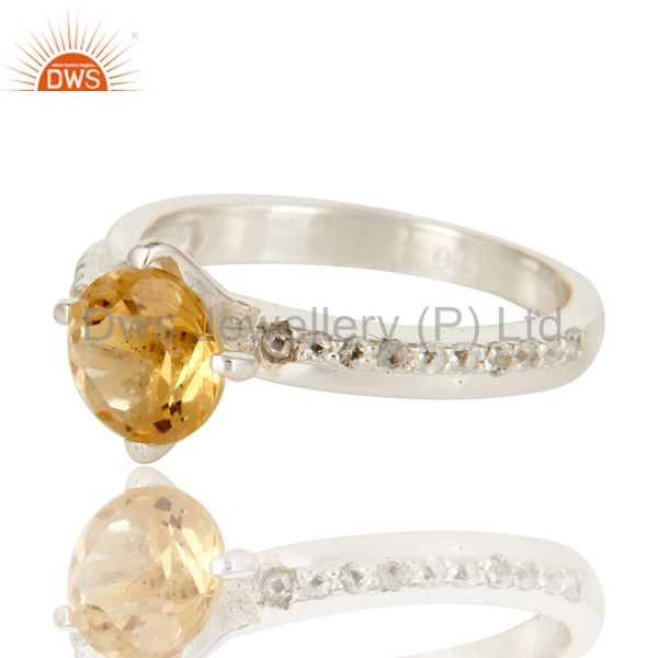 Exporter 925 Sterling Silver Natural Citrine And White Topaz Halo Engagement Ring