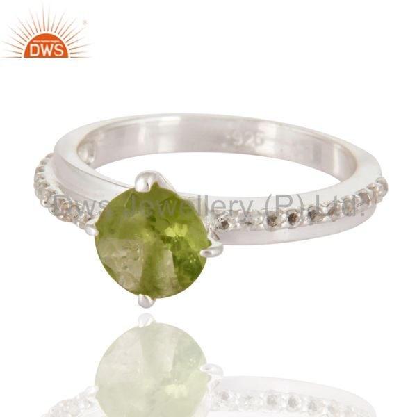 Exporter Peridot & White Topaz Halo Gemstone Engagement Solitaire Ring in Sterling Silver
