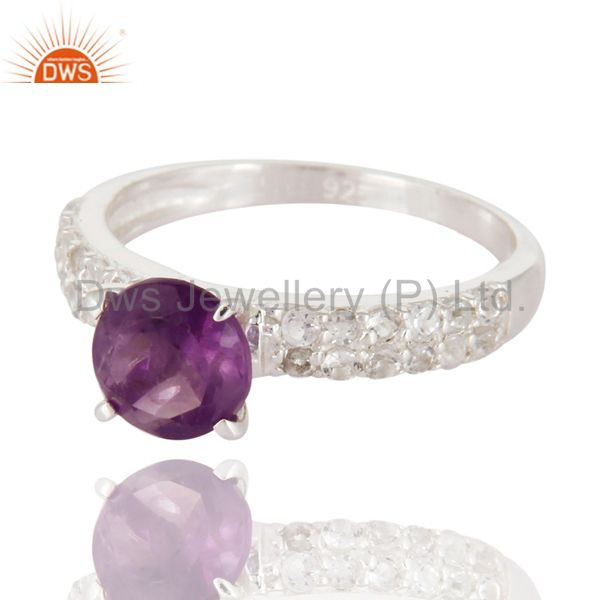 Exporter Sterling Silver Round Cut Amethyst Gemstone Solitaire Ring With White Topaz Halo
