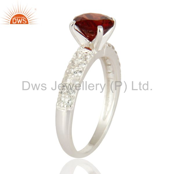 Exporter 925 Sterling Silver Genuine Gemstone Garnet Solitaire Ring With White Topaz Halo