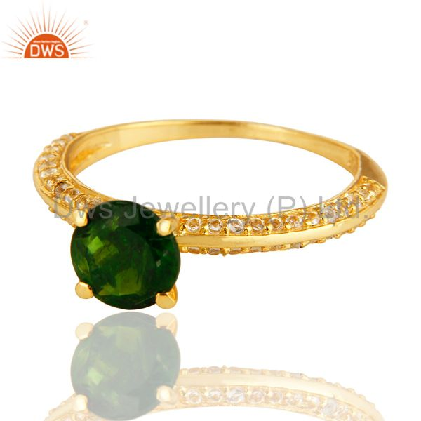 Exporter 14K Yellow Gold Over Sterling Silver Chrome Diopside & White Topaz Halo Ring