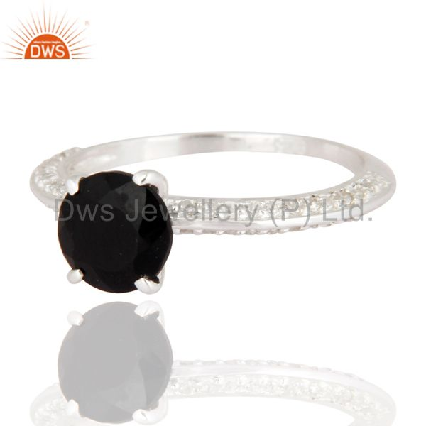 Exporter Black Onyx And White Topaz Halo Ring in Sterling Silver Gemstone Fine Jewelry