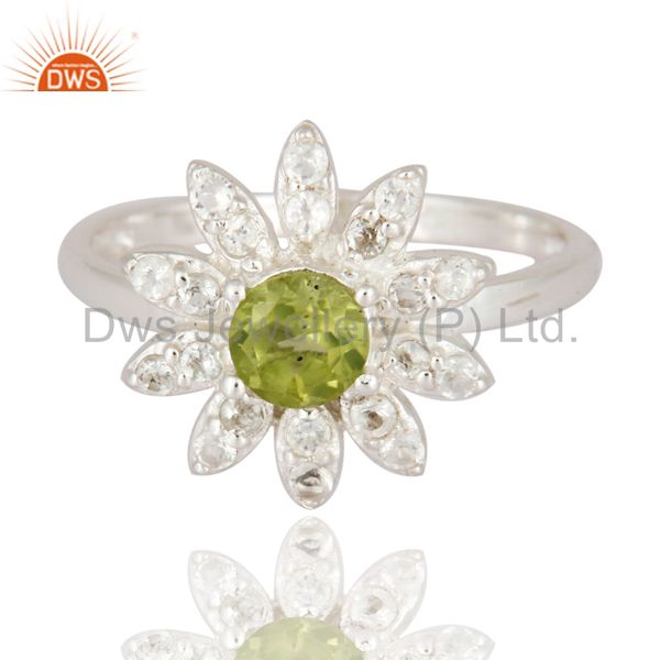 Exporter Unique 925 Sterling Silver Peridot And White Topaz Gemstone Fine Ring Jewelry