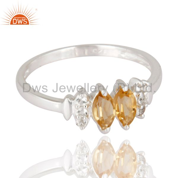 Exporter Marquise-Cut Citrine And White Topaz Gemstone Solitaire Ring in Sterling Silver