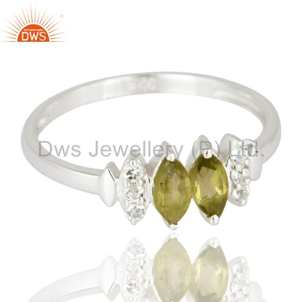 Exporter 925 Sterling Silver Marquise Cut Peridot Gemstone & White Topaz Engagement Ring