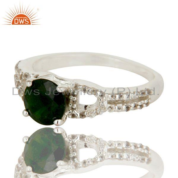 Exporter 925 Sterling Silver Diopside Chrome And White Topaz Halo Style Ring