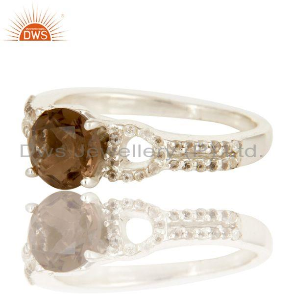 Exporter Smoky Quartz And White Topaz Solitaire Ring Made In sterling Silver