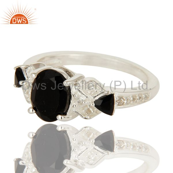 Exporter 925 Sterling Silver Black Onyx And White Topaz Cluster Ring