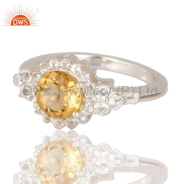 Exporter Genuine Citrine And White Topaz Gemstone Solid 925 Sterling Silver Wedding Ring