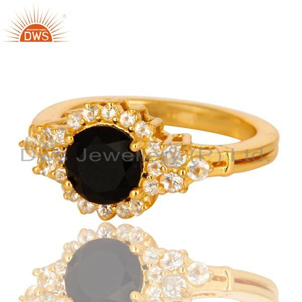 Exporter 18K Yellow Gold Plated Sterling Silver White Topaz And Black Onyx Solitaire Ring