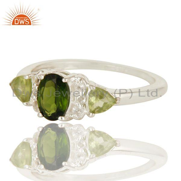 Exporter Natural Chrome Diopside And Peridot Sterling Silver Ring With White Topaz