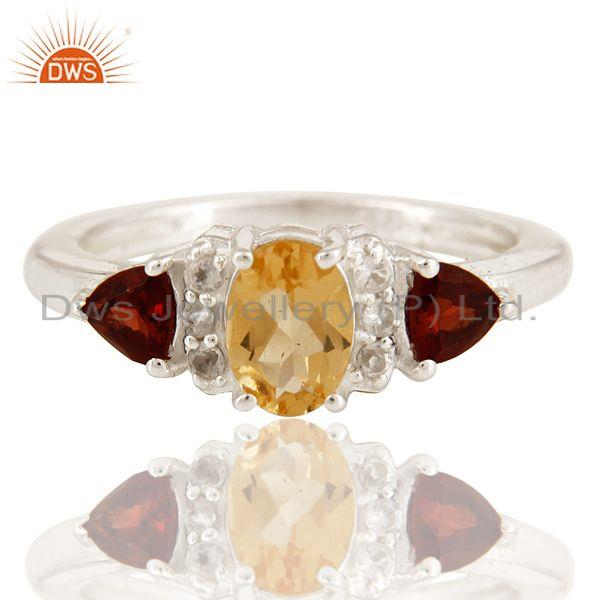 Exporter Natural Citrine And Garnet Trillion Cut Gemstone Sterling Silver Ring