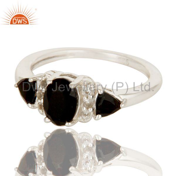 Exporter Black Onyx And White Topaz Solitaire Three Stone Ring Made In Sterling Silver
