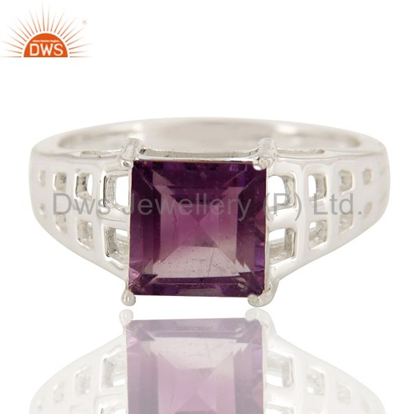 Exporter Natural Amethyst Gemstone Square Cut Sterling Silver Ring
