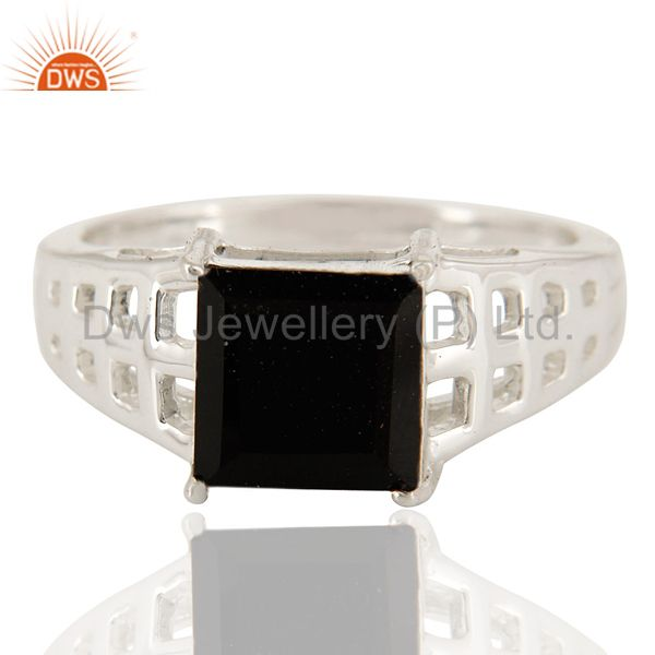 Exporter Natural Black Onyx Gemstone Square Cut Sterling Silver Ring