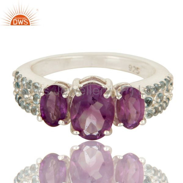 Exporter 925 Sterling Silver Amethyst And Blue Topaz Three Stone Halo Style Ring