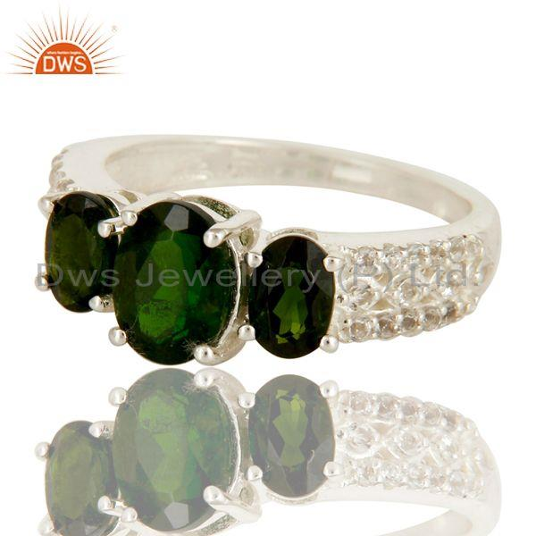 Exporter 925 Sterling Silver Genuine Chrome Diopside with White Topaz Accent Ring