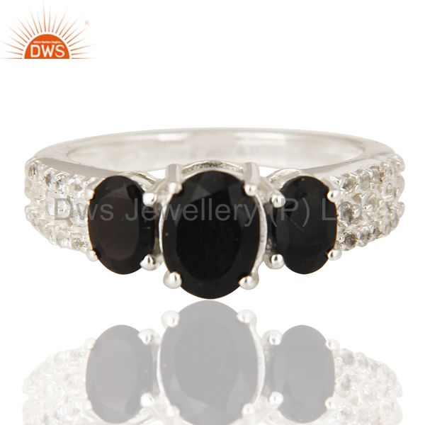 Exporter Natural Black Onyx And White Topaz Sterling Silver Ring