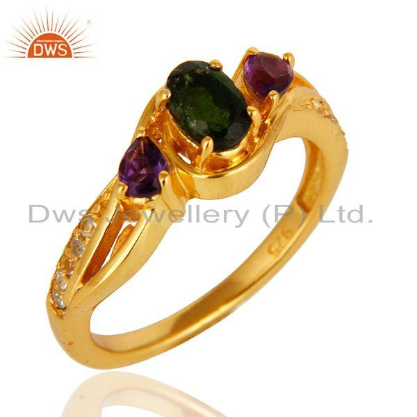 Exporter Chrome Diopside, Amethyst And Round White Topaz 14K GOld On Sterling Silver Ring