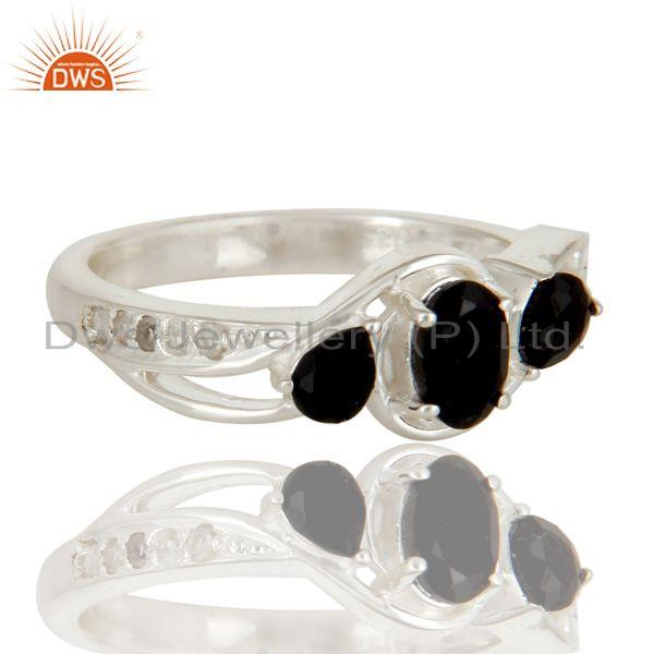 Exporter Black Onyx And White Topaz Sterling Silver Gemstone Solitaire Ring
